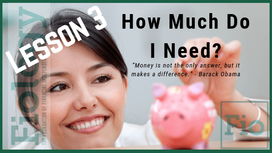 This is the lesson image for Fiology Lesson 3 How much money do I need to be financially independent? It displays a woman placing coins in a pink piggy bank.