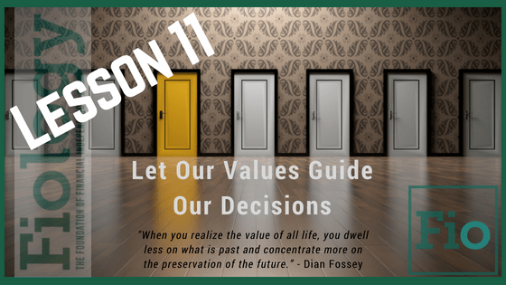 This is the header image for Fiology Lesson Decision-Making in Alignment With Values. It depicts a number of doors to convey making a decision.