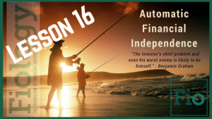 This is a header image for Fiology Lesson Automate the Boring Stuff for Financial Independence. It depicts two men fishing from the shore of the ocean to indicate they have more time to spend doing what they value.