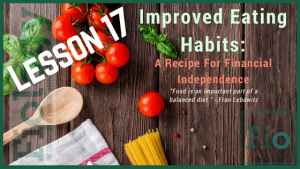 This is the header image for Fiology Lesson How To Save Money on Groceries While Eating Healthy and depicts a wooden spoon and vegetables on a wood plank cutting board to indicate smart food choices.