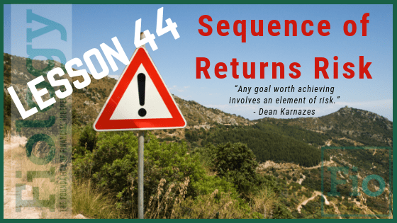 This is the header image for the Fiology lesson Sequence of Returns Risk: Don't Risk Your Retirement. The image depicts a sign that indicates warning, there may be trouble ahead, proceed with caution to indicate we need to be aware of the risks returns, positive or negative, can have on our intentions to retire early and stay retired.