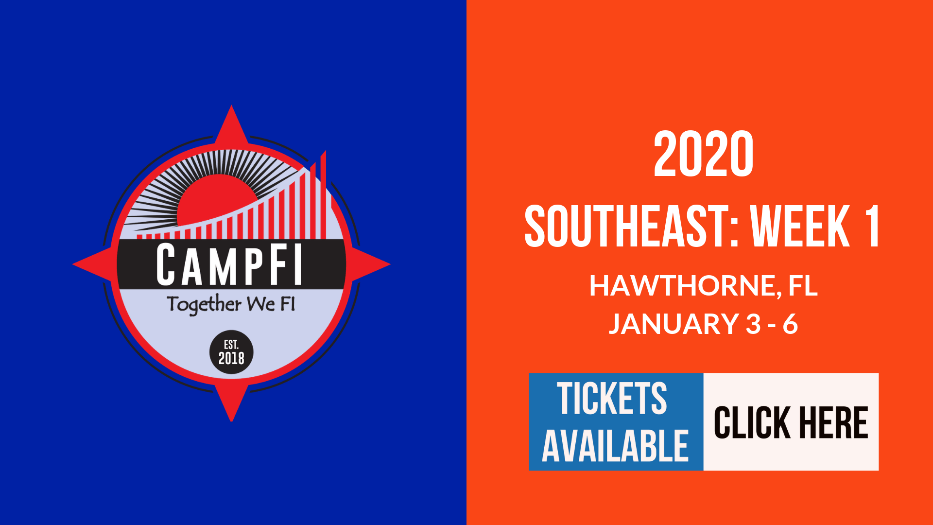 CampFI Southeast 2020 Week 1 Tickets Available
