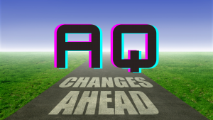 """An """"AQ"""" indicating Adaptability Quotient. Road with changes ahead."""